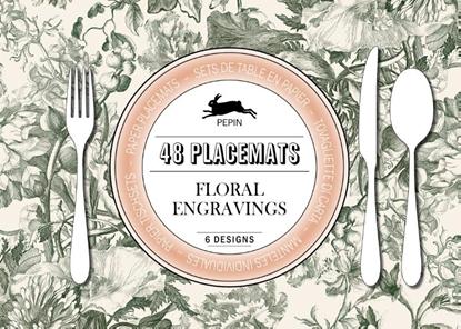 Afbeeldingen van 48 placemats floral engravings