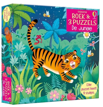 Afbeeldingen van Boek & 3 Puzzels De jungle