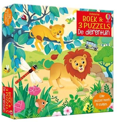 Afbeeldingen van Boek & 3 Puzzels De dierentuin