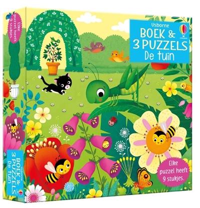 Afbeeldingen van Boek & 3 Puzzels De tuin