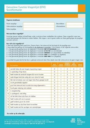 Afbeeldingen van Executieve Functies Vragenlijst (EFV) scoreformulieren
